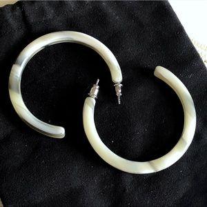 """JCrew Lucite Horn Hoop Earrings, 2"""" diameter"""